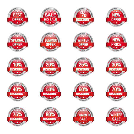 discount buttons: Red Silver Sale Discount Buttons