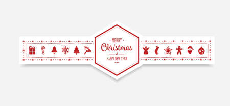 winter holiday: merry christmas hexagon ornament banner background Illustration