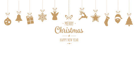 merry christmas ornament hanging gold isolated background