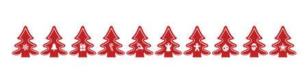 červené vánoční stromky v surovém izolované pozadí