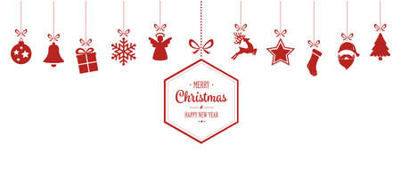 rows: merry christmas hanging red ornaments background Illustration