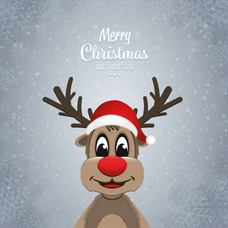 december holidays: reindeer on winter snowflakes background