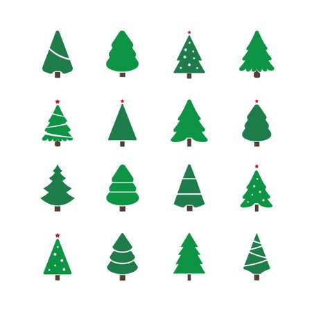 christmas tree illustration: christmas tree set illustration
