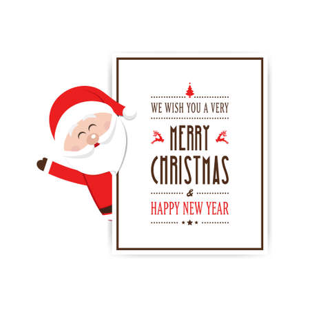 from behind: santa wave behind christmas card