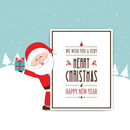 from behind: santa hold gift behind christmas card
