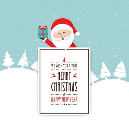 behind: santa hold hold gift behind christmas card