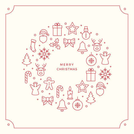 hollyberry: red christmas line icons border background