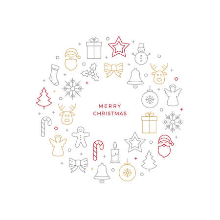 hollyberry: christmas ball line icons white background Illustration