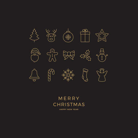 minimal: black gold merry christmas minimal icon card