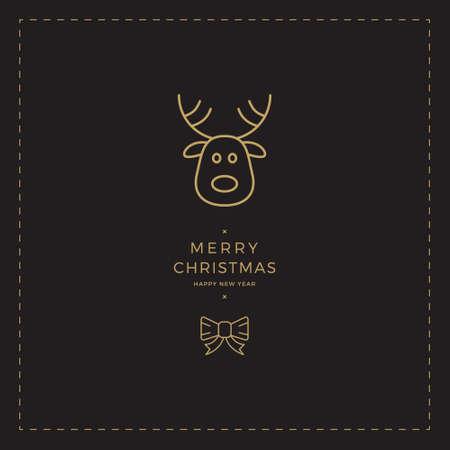 zwarte goud Kerstkaart van het Rendier