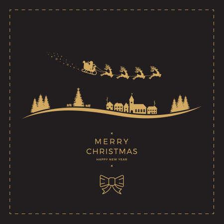 Kerstman slee Kerstmisgoud zwarte kaart