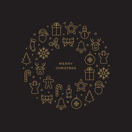 hollyberry: gold christmas circle line icons black background
