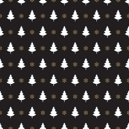 abstract seamless: christmas tree snowflake pattern black background