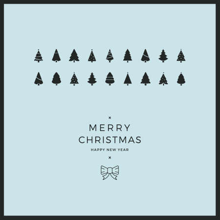 minimal: merry christmas minimal card trees ribbon