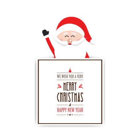 from behind: happy santa wave behind christmas sign greeting white background Illustration