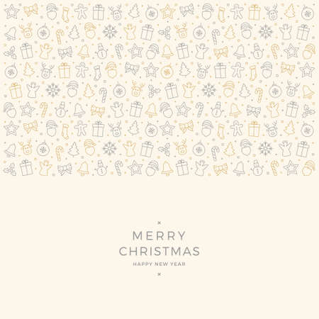 christmas element: christmas element icons gold gray border background