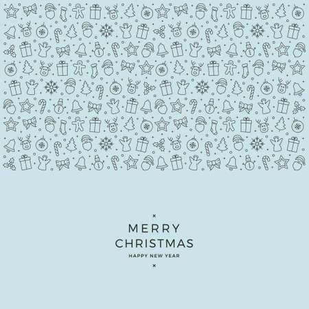 christmas element: christmas element icons black blue background Illustration