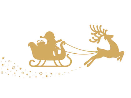 gold santa sleigh stars white background 矢量图像