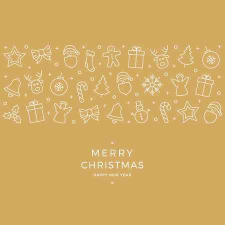 christmas element: christmas element icons white banner gold background