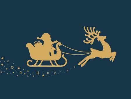 santa sleigh: gold santa sleigh stars blue background