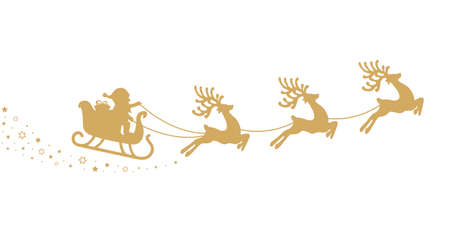 gold santa sleigh silhouette stars white background