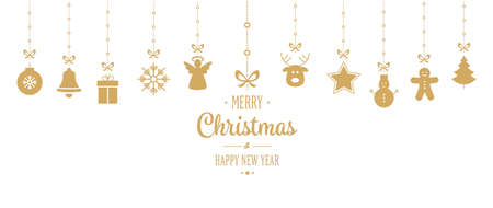 christmas ornament hanging gold isolated background Vektoros illusztráció