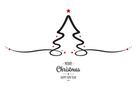 christmas tree red stars greeting white background Vectores