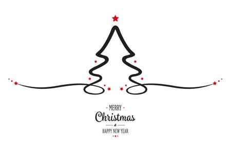 christmas tree red stars greeting white background Illustration