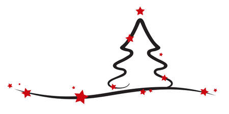christmas tree red stars white background