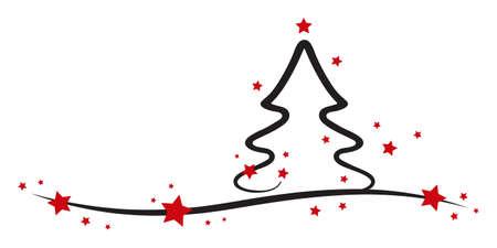christmas tree red stars white background