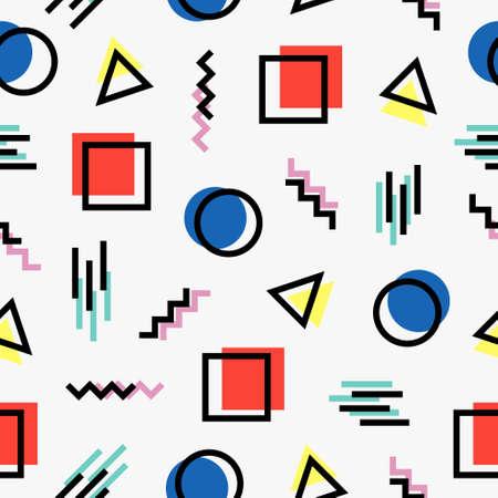 カラフルなパターン メンフィス スタイル  イラスト・ベクター素材