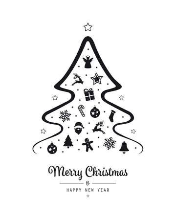 Kerstboom belettering boom zwarte elementen geïsoleerde achtergrond Stockfoto - 86737814