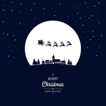 Sankt-Pferdeschlitten, der in die Winterdorf-Weihnachtsnacht fliegt