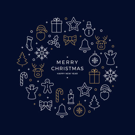 christmas icons elements wreath circle golden white blue background