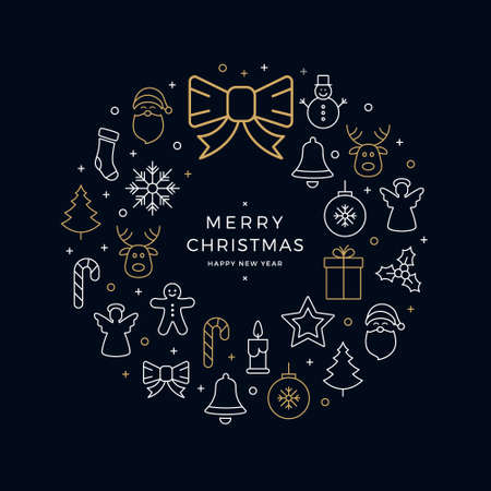 Christmas wreath icons elements circle golden blue background.