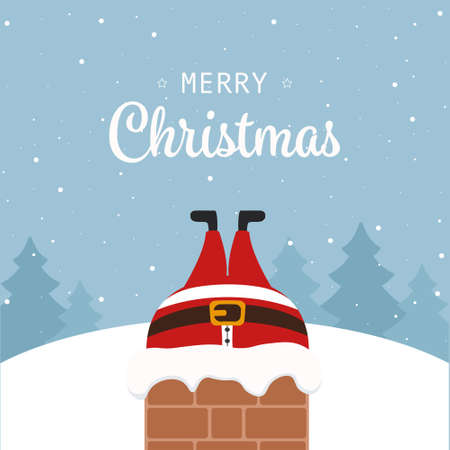 santa claus stuck in chimney christmas greeting winter landscape background