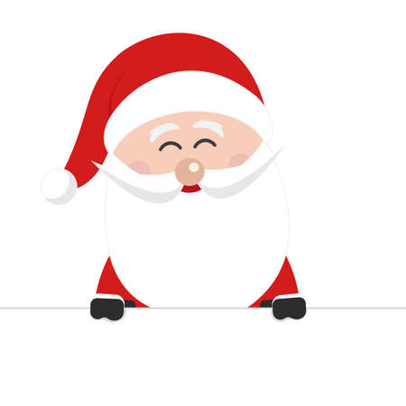 santa claus behind banner sign isolated background