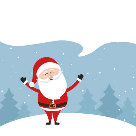 Santa claus speech bubble empty space merry christmas greeting snow.