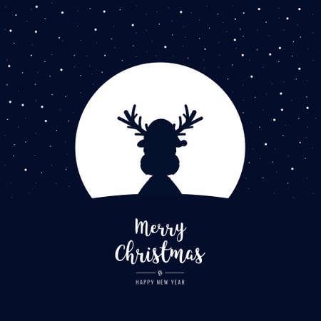 トナカイは、クリスマスのあいさつ文と大きな月の背後にある冬の夜をシルエットします。