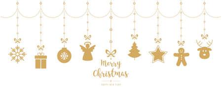 Christmas golden ornament elements hanging isolated white background Illustration