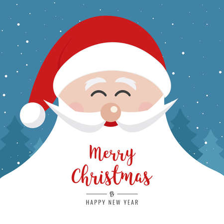 A santa claus face smile big beard christmas gretting text card winter landscape night background Ilustracja