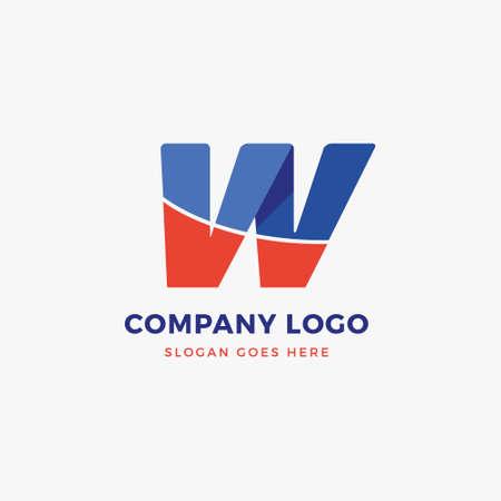 W Letter Logo Design Template 일러스트