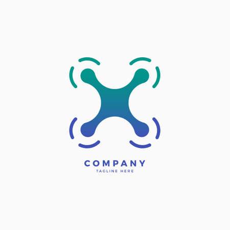 Drone X Letter Logo Design Template Logo