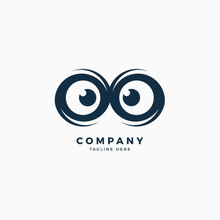 Owl Eyes Logo Design Template Stock Vector - 93505925