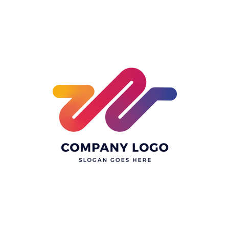 W Letter Gradient Logo Design 일러스트