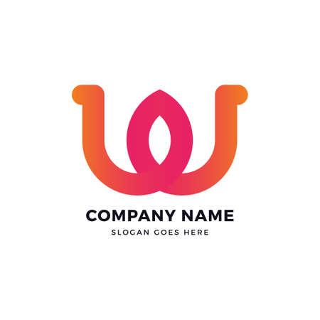 W letter color logo design Vector illustration. Vectores