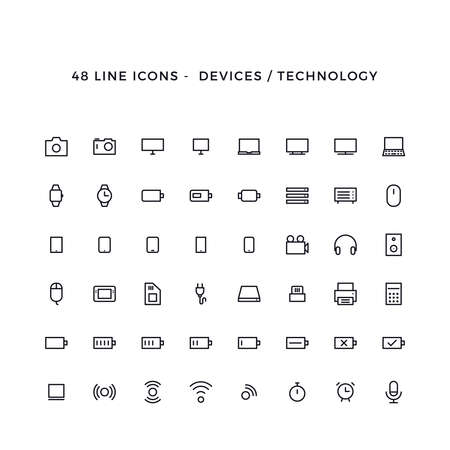 Set of device and technology vector line icons Stock Illustratie