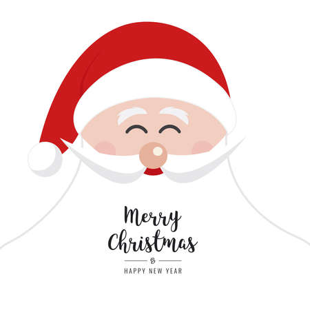 santa claus face smile big beard christmas gretting text card isolated background