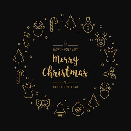 christmas greeting wreath icons elements circle golden black background