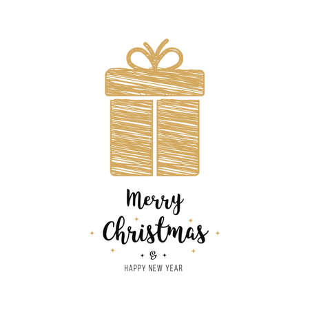 christmas gift  scribble drawing golden greeting text isolated background